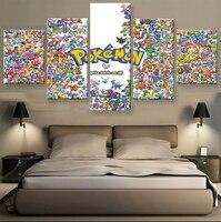 5 панель HD печатных холст картины Покемон плакат печать холст искусство Современный домашний декор стены искусства фотографии для гостиной...