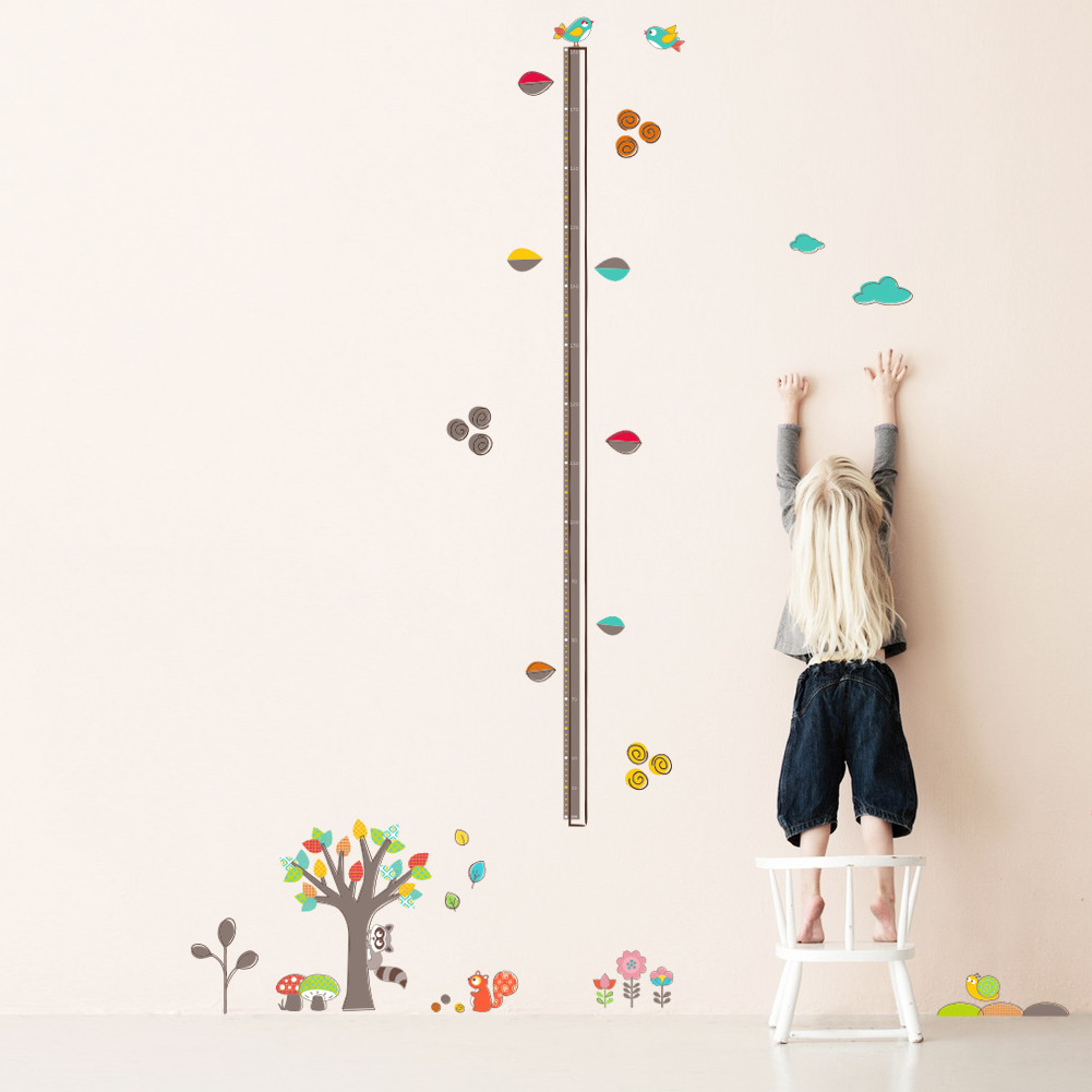 Colorful forest tree flower height measure wall sticker for kids colorful forest tree flower height measure wall sticker for kids rooms children growth chart wall decals art poster mural in wall stickers from home geenschuldenfo Image collections