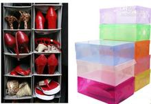New Arrival Transparent Stackable Crystal Clear Plastic Shoe Clamshell Storage Boxes 10pcs per lot Free Shipping