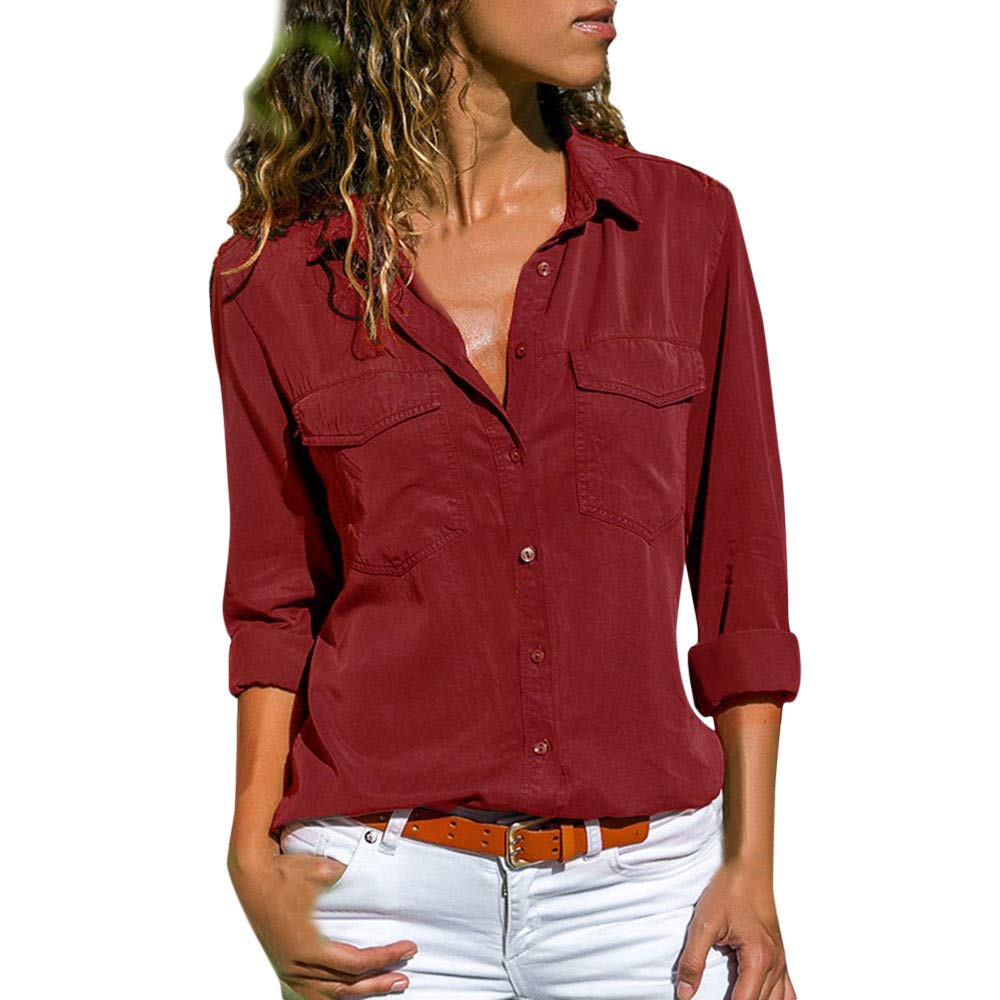 New Solid color Turn-Down Collar Long-sleeved   Shirt   Plus Size 4XL 5XL Roll-up Sleeve Pockets Women's Tops Chiffon   Blouse     Shirts