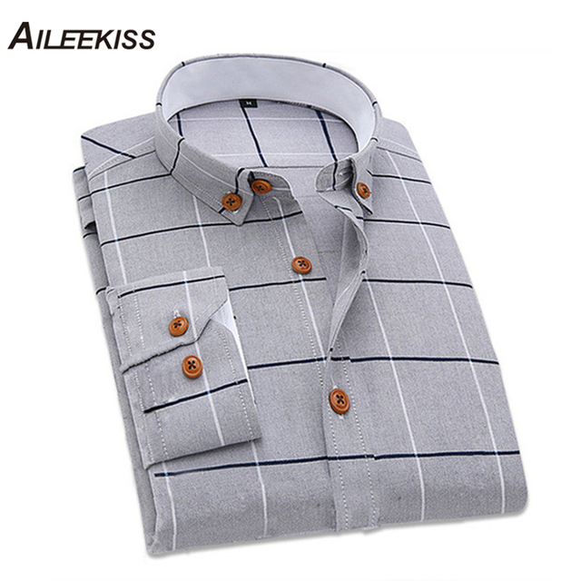 dfab129e Men Clothing 2019 New Cotton Dress Plaid Shirt Slim Fit Man Shirts High  Quality Long Sleeve Casual Streetwear Male 5XL Top XT487