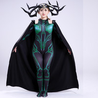 Thor Ragnarok Hela Cosplay Costume Halloween Party Superhero Zentai Bodysuit Adult Jumpsuit With Cape and headwear