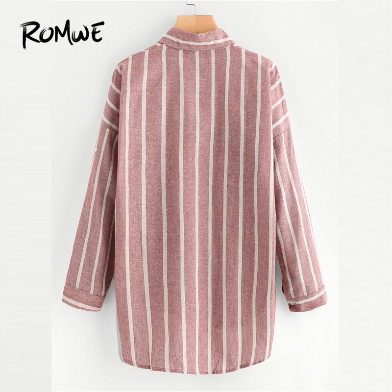 954507f3 US $12.99 45% OFF ROMWE Stripe Red Hi Lo Shirt Chest Pocket Button Up  Blouse Women Dip Hem Casual Tops Fall 2019 Fashion Long Sleeve Lapel  Blouse-in ...