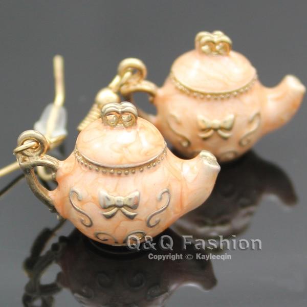 Teapot Earrings Tea Pot Dangle Fairytale Party Wonderland Costume Fancy Dress Jewelry  New