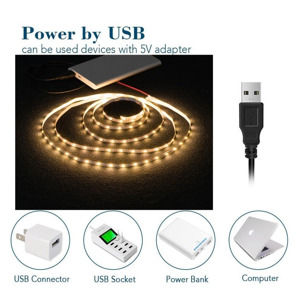 HTB1G2v1MMHqK1RjSZFPq6AwapXaq WELPUR battery 5V USB LED Strip 2835 DC LED Light Flexible 50CM 1M 2M 3M 5M white warm For TV Background Lighting Night light