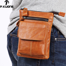 P.Kuone Men's Pockets Genuine Leather Belt Mobile Phone Waist Bag With Shoulder Strap Layer Leather Multi-function Business Bag
