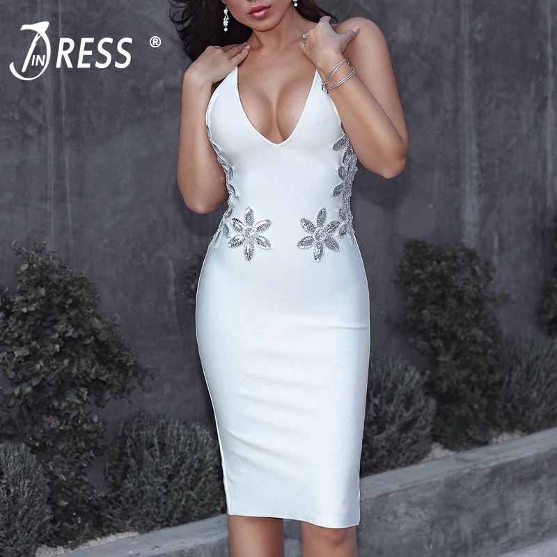 INDRESSME 2017 New Arrival Elegant Midi Spaghetti Strap Sexy Deep V Sequined Summer Autumn Women Lady Bandage Dress Vestidos