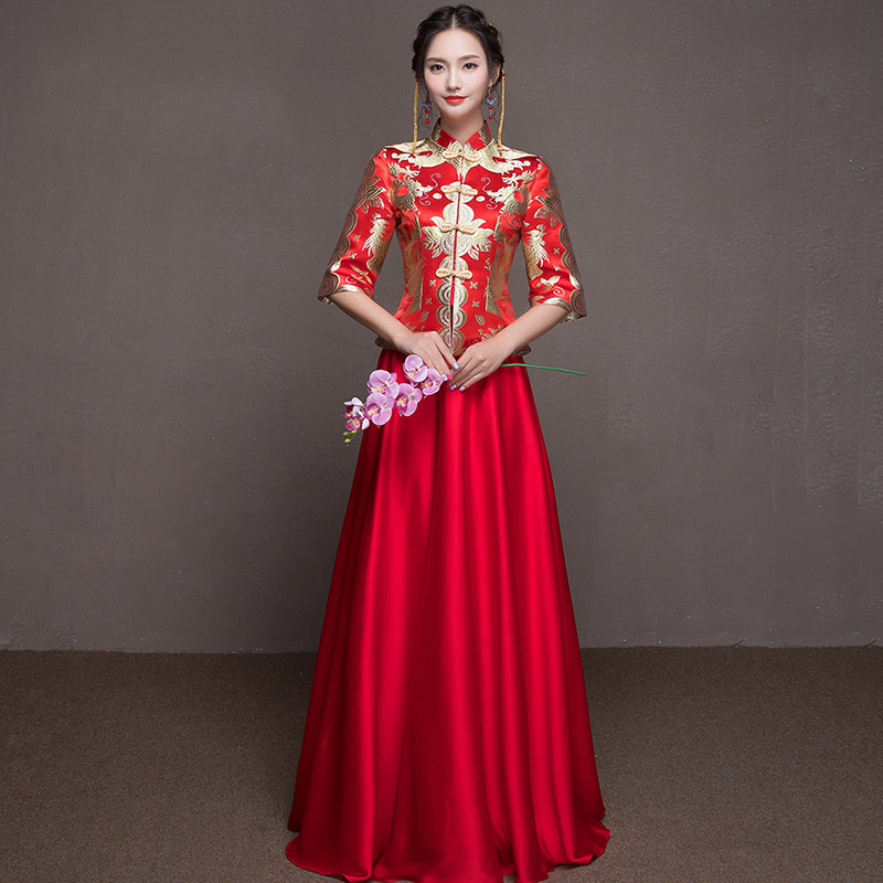 High Quality Embroidery Bride Wedding Dress Female Vintage Cheongsam Oriental Toast Clothing Exquisite Evening Gowns Qipao