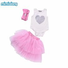 Summer Fashion Baby Clothing Set Girls Casual Infant Outfits Pink Bow Headband+Heart White Vest+Tutu Skirt Children's Wear Kids