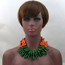 Gorgeous Coral Bridal Necklace Earrings Set Handmade African Wedding Beaded Fashion Women Jewelry Set for Party QW104