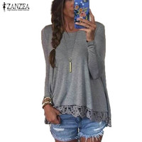 Autumn Blouse 2017 ZANZEA Fashion Women Long Sleeve O-Neck Casual Tops Sexy Lace Crochet Blusas Shirts Plus Size