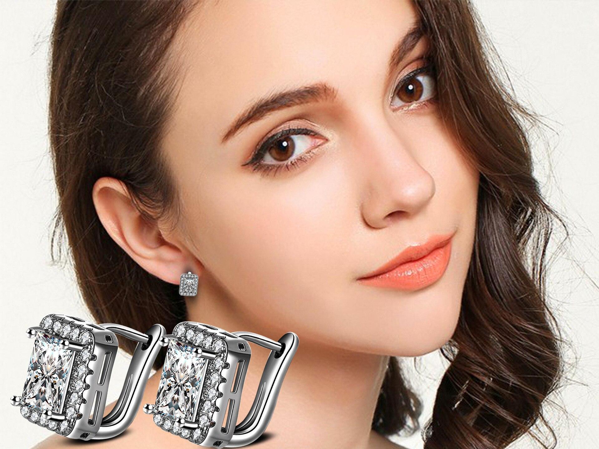 RUOYE Mode Frauen Bolzenohrrings Luxus AAA Zirkon Ohrring Quadrat - Modeschmuck - Foto 6