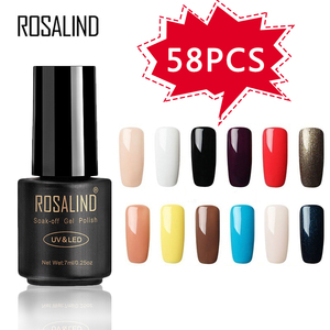 Image 1 - ROSALIND 58PCS/LOT Pure Color Nail Gel Fast Delivery Can Be Soak Off Healthy and Eco friendly UV LED Gel Nail Gel Polish