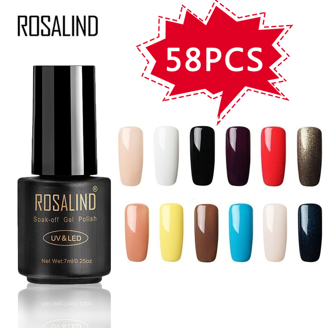 ROSALIND 58PCS/LOT Pure Color Nail Gel Fast Delivery Can Be Soak Off Healthy and Eco friendly UV LED Gel Nail Gel Polish