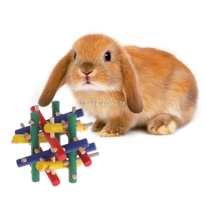 Pet Toy Colorful Wood Safety Knot Nibbler Chew Bite For Rabbit Animal Kid Adults  UU77