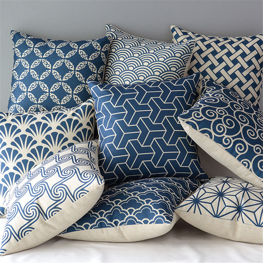 Nordic Retro Classical Geometry Art Cushions Watercolor