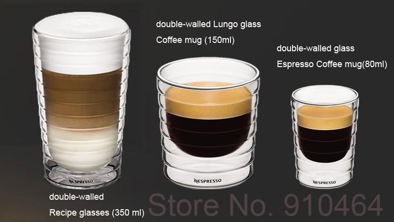 Set (80ml+150ml+350ml) double wall hand-blown Espresso glass cup / mug Coffee Thermo Glass - Ningbo TFLY Houseware Co.,Ltd store