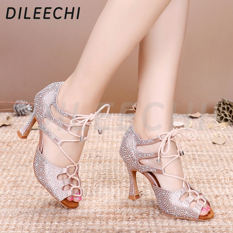 Image 4 - DILEECHI Women Latin Dance Shoes Skin Satin Shining Big small rhinestone dancing shoes Flare heel 9cm Narrow foot Adjust width-in Dance shoes from Sports & Entertainment