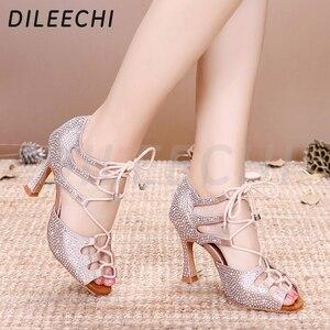 Image 4 - DILEECHI femmes chaussures de danse latine peau Satin brillant grand petit strass chaussures de danse Flare talon 9cm pied étroit ajuster la largeur