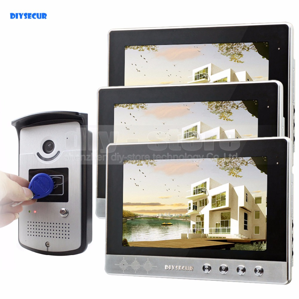 DIYSECUR Video Door Phone Doorbell Home Security Video Intercom System RFID Camera LED Color Night Vision 1 Camera 3 monitors цена и фото