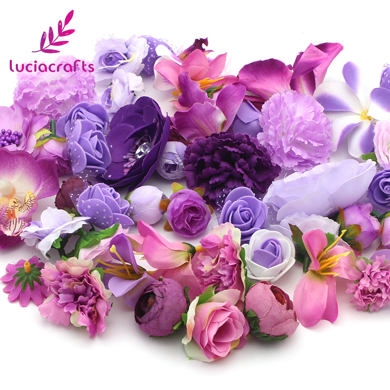 Lucia crafts Random Mixed Size Artificial Flower Head Wedding Party Home DIY Decoration Supplies 50g/lot,Approx 35pcs 027017071