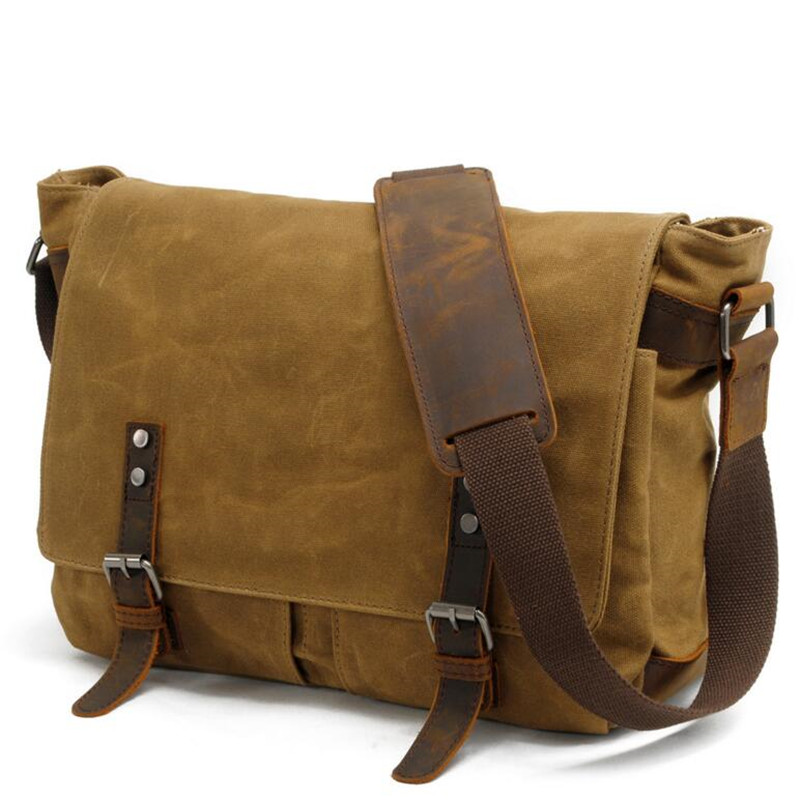 Men Wax oil Canvas Shoulder Bag Male Vintage Messenger Bags Casual Shoulder Bag Crossbody Bags Men