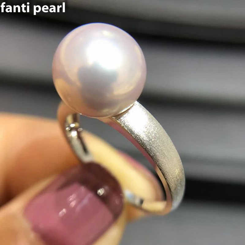 DIY Pearl Ring 925 silver Accessories Natural Freshwater Pearl ring s925 Sterling Silver Rings simple style
