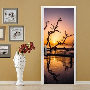 3D Sea Sunset Poster PVC Waterproof Entire Door Sticker Creative Stickers Door Wall Sticker DIY Mural Bedroom Home Decor