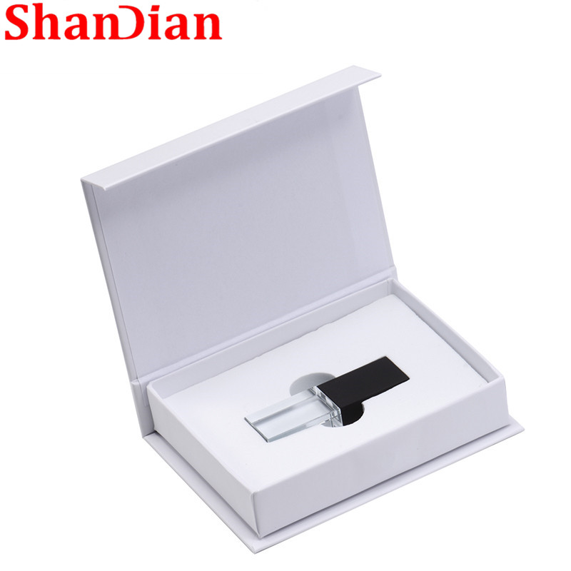SHANDIAN Transparent Glass USB For Car Logo Usb Pen Drive 8GB 16GB 32GB 64GB USB Flash Drive, Memory Drive Stick Pen/ Car Gift