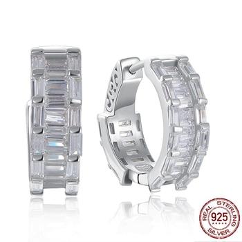 17 mm diameter Real 925 sterling silver hoop earrings Attractive jewelry fine jewellery forward design silver earring for women