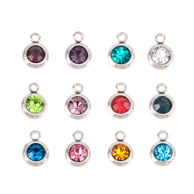 Wholesale 12pcs/lot  DIY Charm Pendant 6mm Birth Stones for Bracelets Necklace Mini Crystal Color Personalized Fashion Jewelry