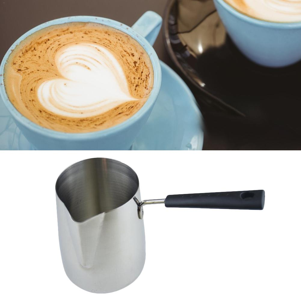 Stainless Steel Milk Frothing Jug Hangable Milk Cream Cup Coffee Creamer Latte Pot With Handle Durable Kitchen Coffee Tools