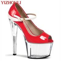 Belt buckle sexy nightclub steel pipe shoes women high heel shoes pump platform of 17 cm crystal shoes