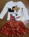 oringal brand 5sets/lot Minnie mouse long sleeve T shirt and Skirts 2-piece Set for 2-6T Baby Girls