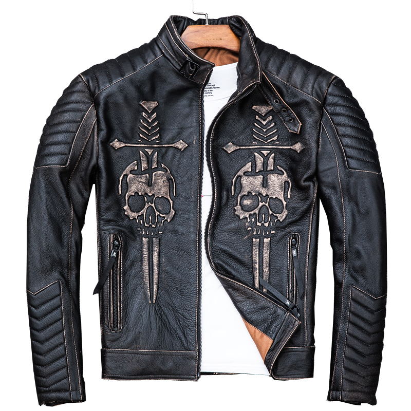 2019 Vintage Black Men Skulls Biker's Leather Jacket Plus Size 4XL Genuine Thick Cowhide Slim Fit Motorcycle Coat FREE SHIPPING