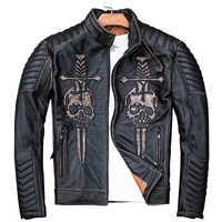 2019 Vintage Uomo Nero Skulls Biker Giacca di Pelle Più Il Formato delle 4XL Genuino Della Pelle Bovina di Spessore Slim Fit Cappotto Del Motociclo di TRASPORTO TRASPORTO LIBERO
