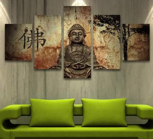 5 panel zen buddha modern home wall decor painting canvas for Home decor zen