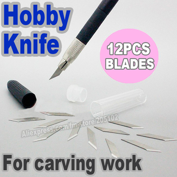 Hobby Knife + 12pcs Blade Knives set , Stainless steel Pen for paper plastic,cloth,leather multi-purpose of DIY tool work - discount item  25% OFF Arts,Crafts & Sewing