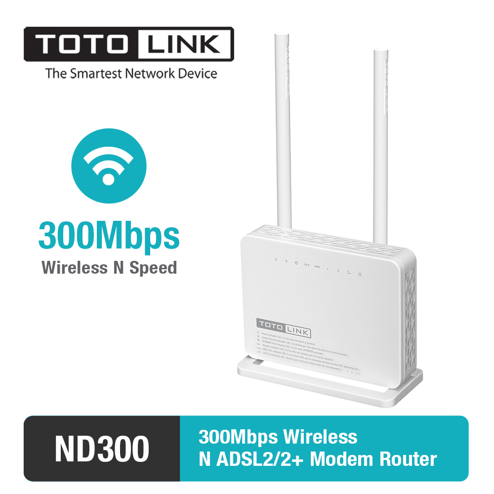 цена TOTOLINK ND300 Multi-functional Wireless N 300Mbps ADSL 2+ Modem WiFi Router&with 2 x 5dBi High Gain Antenna- Portuguese version