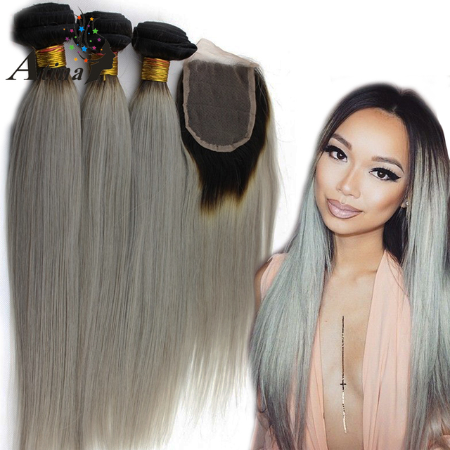 1b Grey Ombre Human Hair Bundles With Lace Closures Gray Hair Weave