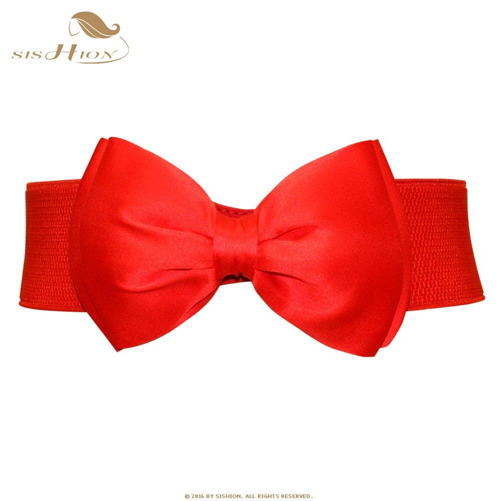 SISHION Elegante Cummerbunds Das Mulheres Coringa Chiffon Arco Decorativo Tecido Cinto Largo Elástico Moda Cintura Mulheres Cinto VB0002