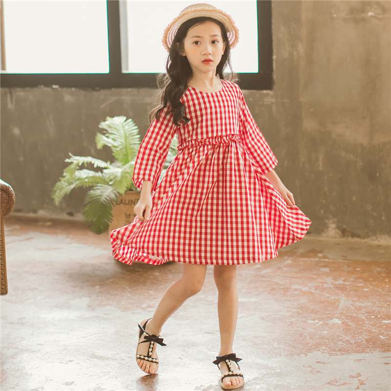 Girls Dress 2018 New Summer Brand Baby Girl Long Sleeved Plaid Dress Toddler Child Princess Dress Children Clothes,#2704 children s spring and autumn girls bow plaid child children s cotton long sleeved dress baby girl clothes 2 3 4 5 6 7 years