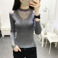 2018 classic pure color ladies sweater Women Long Sleeve Slim V Neck Cotton Casual Off Shoulder Knitwear Pullover top