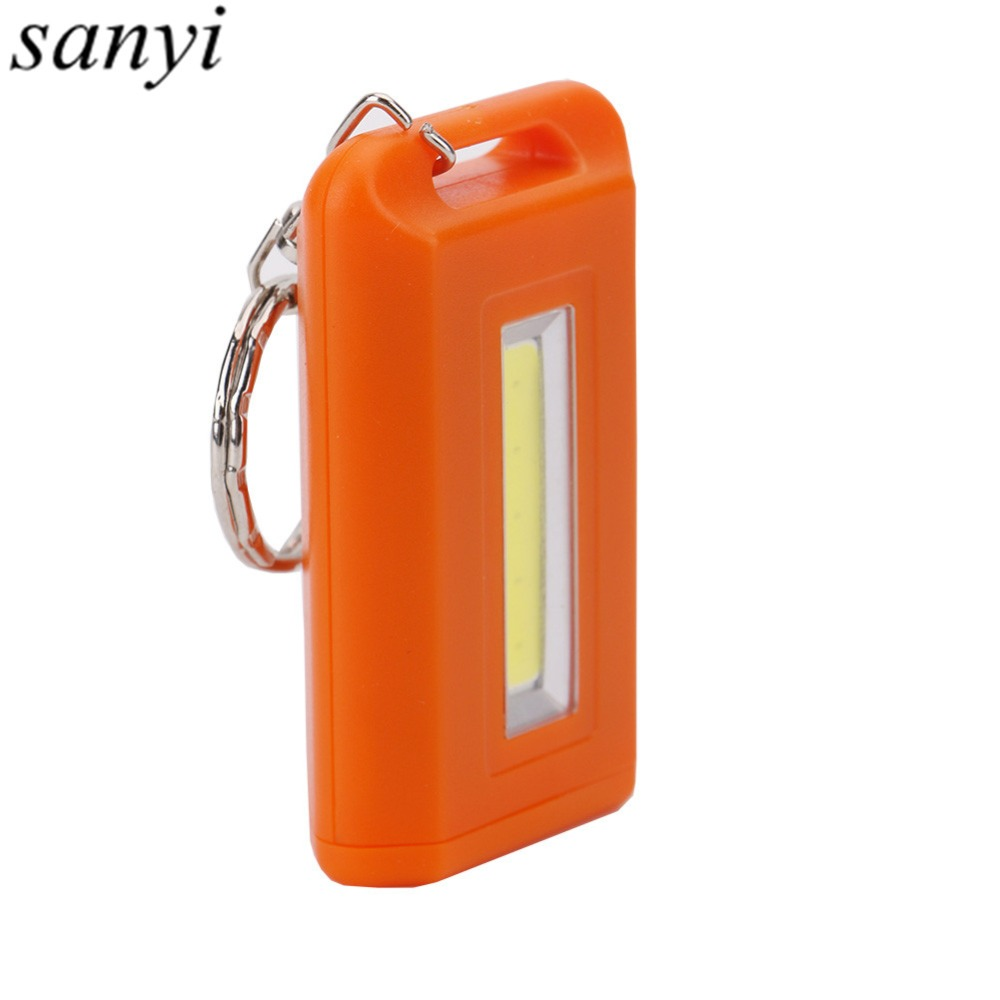 2*AAA Battery Waterproof Mini COB LED Flashlight Portable Light Torch with Keychain For Camping Working Emergency Night Light water resistant mini 6 led white light camping flashlight keychain blue silver 2 x cr2032