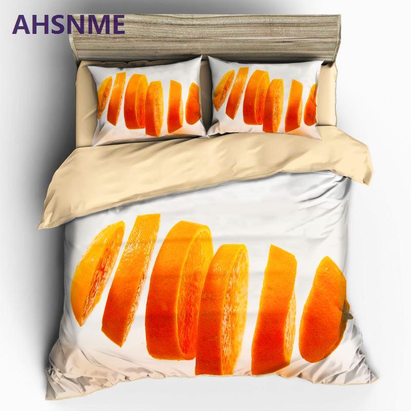 AHSNME 3D Sweet Chopped Orange Piece Duvet Cover Sets Fruit Picture 100% Microfiber Bedding Set 3pcsAHSNME 3D Sweet Chopped Orange Piece Duvet Cover Sets Fruit Picture 100% Microfiber Bedding Set 3pcs