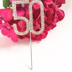Украшение для вечеринки в честь Дня Рождения, свадьбы, юбилея, 5 см, номер 50, Хрустальный Топпер для торта со стразами