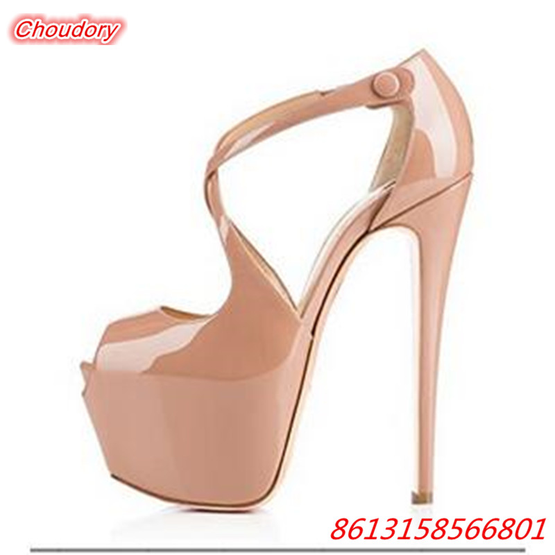 Sexy Peep Toe Cross-tied Women Sandals Ankle Buckle Super High Heels Shoes Female Rome Platform Thin Heels Gladiator Party Shoes  rome new sexy high heels wedding shoes woman 2017 brand cross tied women luxury retro square toe gladiator sandals women boots