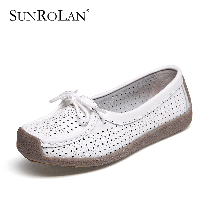 Breathable Cut-Outs Genuine Leather Women Flats Lace-up Women Loafers Shoes Female Footwear 2017 Spring Shoes For Woman BFS6027 beango 2017 spring autumn casual women shoes lace up metal decor thick bottom leather shoe breathable travel loafers female