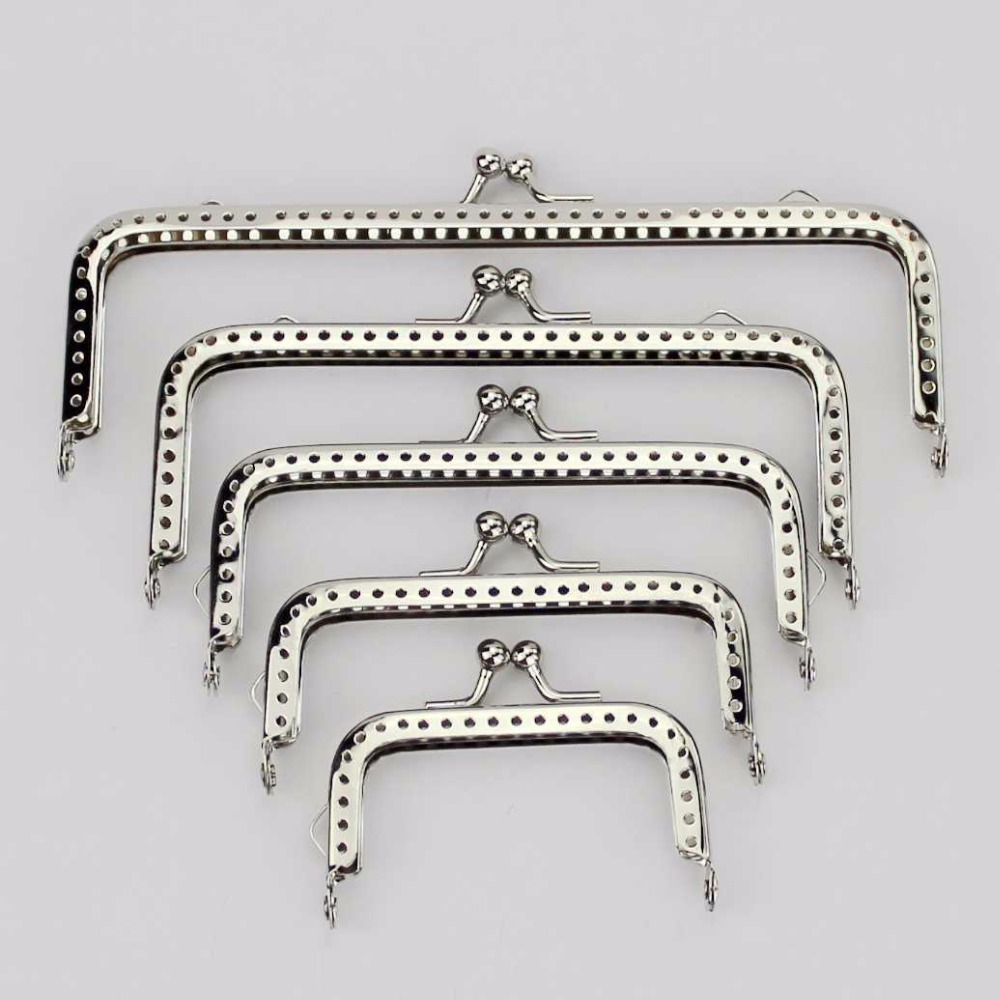 6pcs Bead Embossed Square Purse Bag Metal Frame Kiss Clasp Lock 8x5cm