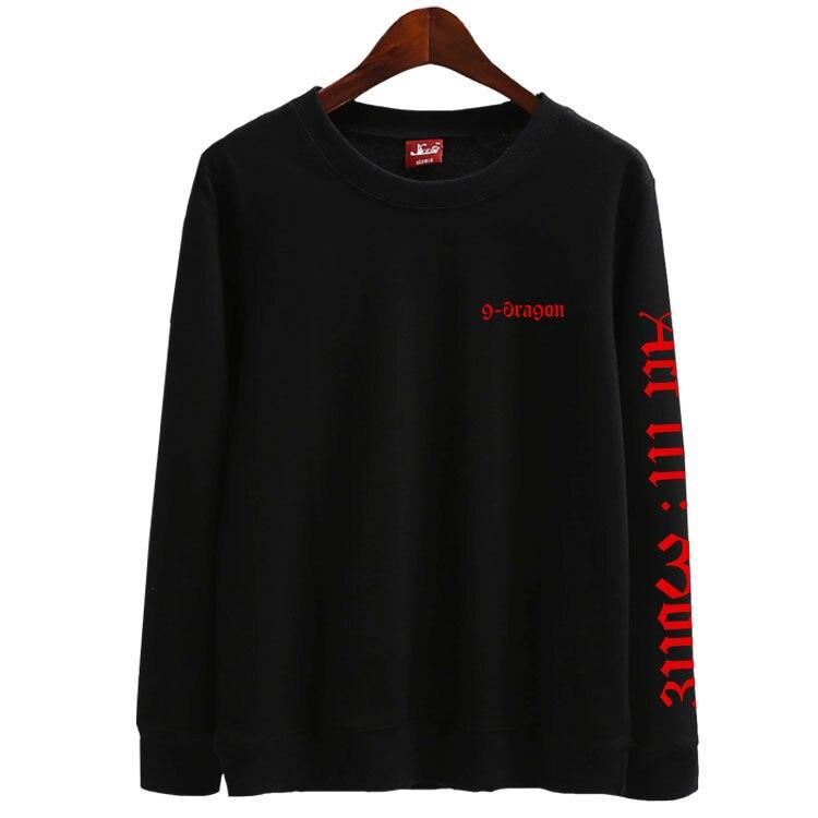 New Arrival Kpop Bigbang Gd G-dragon Act Iii Motte Printing O Neck Thin Sweatshirt For Vips Fashion Pullover Loose Hoodies
